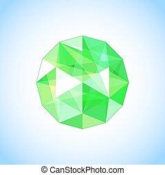Realistic emerald jewel shaped. Gem. Vector illustration.