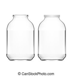 Realistic Empty 3L Glass Jar Isolated On White Background