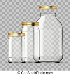 Realistic Empty 3L Glass Jar Set Isolated On White Background