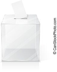Realistic empty ballot box with voting paper.