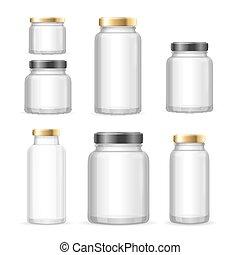 Realistic Empty Glass Jar Can Set. Vector