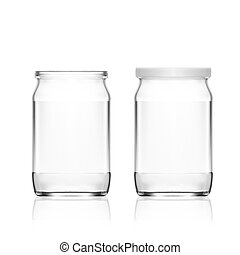 Realistic Empty Glass Jar Isolated On White Background