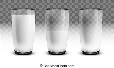 Realistic Empty, Half And Full Of Milk Transparent Glasses