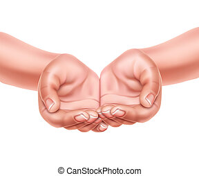 Realistic empty hands cupped together vector 3d