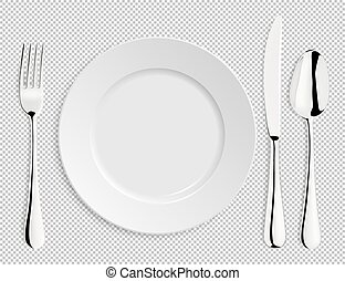 Realistic empty vector plate with spoon, knife and fork isolated. Design template in EPS10.