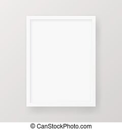 Realistic Empty White Picture Frame isolated on a neutral gray background.