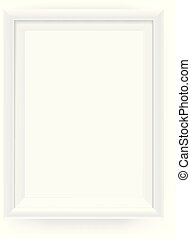 Realistic empty white picture frame on a wall. Vector illustration Isolated on white