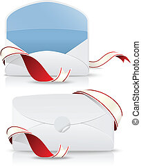 realistic envelope with red ribbon
