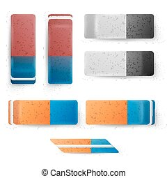 Realistic Eraser Set Vector. Classic Blue Orange, Grey White Rubber Icon. Isolated Illustration