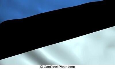 Realistic Estonia flag waving in the wind. Seamless looping.