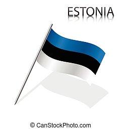 Realistic Estonian flag, vector illustration