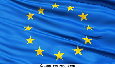 Realistic 3d seamless looping Europe flag waving in the wind.