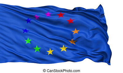 Realistic Europe flag in the wind - Realistic 3D detailed...