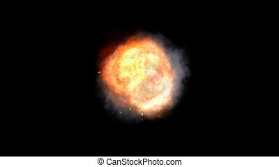 Realistic explosion with sparkles and smoke