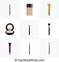 Realistic Eye Paintbrush, Blusher, Fashion Equipment And Other Vector Elements. Set Of Cosmetics Realistic Symbols Also Includes Lip, Skincare, Cream Objects.