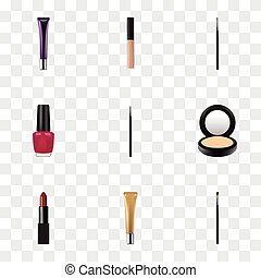 Realistic Eye Paintbrush, Brush, Blusher And Other Vector Elements. Set Of Maquillage Realistic Symbols Also Includes Makeup, Lips, Cover Objects.