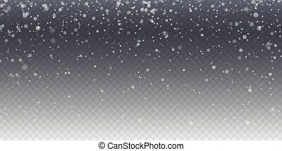 Realistic falling snow. Isolated on transparent background