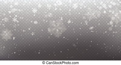 Realistic falling snow with white snowflakes, light effect