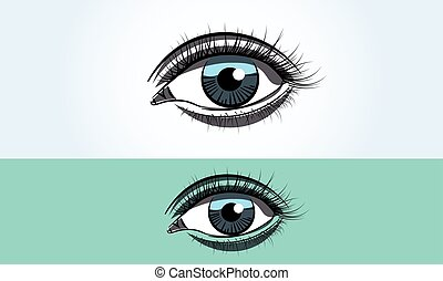 Realistic female blue eye close up wide open