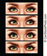 Realistic Female Eyes Expressions Set - Set of realistic...