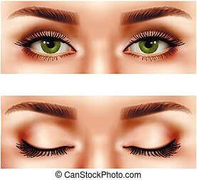 Realistic Female Eyes Set - Set of realistic part of female...