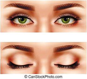 Realistic Female Eyes Set