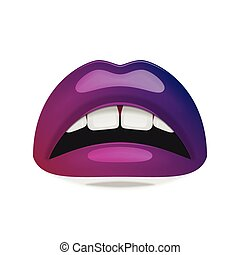 Realistic female Mouth with glossy Lips