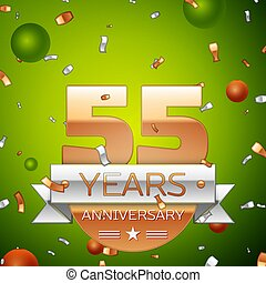 Colorful Vector template elements for your birthday party Drawingby  VectorV0 0 Realistic Fifty five Years Anniversary Celebration design. 0c1c188417