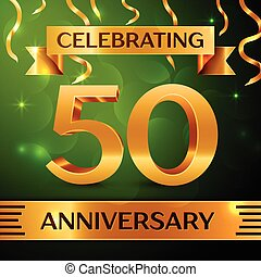 Realistic Fifty Years Anniversary Celebration Design. Confetti and gold ribbon on green background. Colorful Vector template elements for your birthday party. Anniversary ribbon