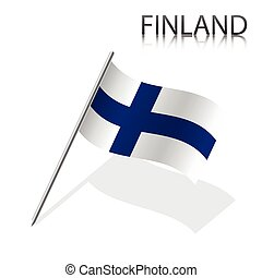 Realistic Finnish flag, vector illustration