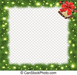 Realistic fir-tree sparkling border frame with red bow and bells