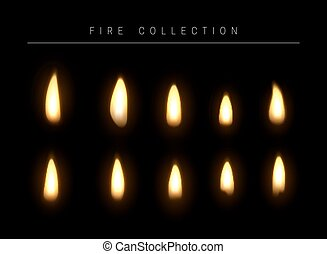 Birthday Candles Flame Fire Light Isolated On Background Realistic