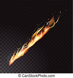 Realistic fire flame vector illustration. Transparent...
