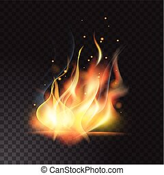 Realistic fire flame vector illustration. Transparent background