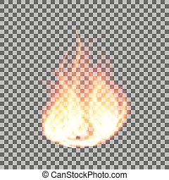 Realistic fire flames on a transparent background. Vector illustration