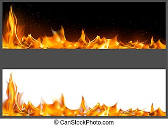Realistic Fire Flames on Banners
