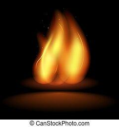 Realistic Fire Flames on black background. Hot fireball warm furnace fire blazing effect