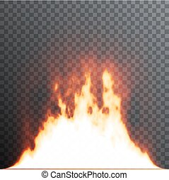 Realistic fire flames on transparent background. Special effects. Vector illustration. Translucent elements. Transparency grid.