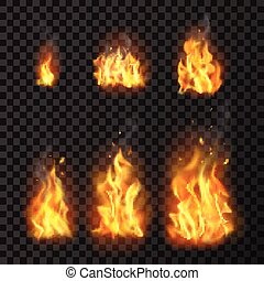 Realistic Fire Flames Set - Set of realistic fire flames of...