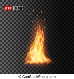 Fire with sparks, isolated vector campfire or torch flame. Realistic burning 3d blaze, glowing orange and yellow shining flare with flying embers. Bonfire design element on transparent background