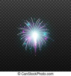 Realistic firework explosion with glowing blue and purple fire balls