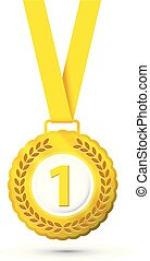 Realistic first place medal