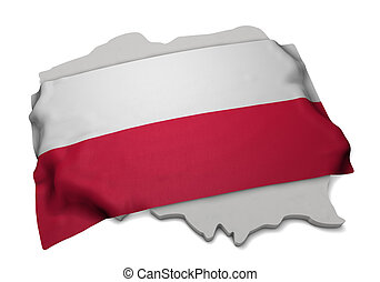 Realistic flag covering the shape of Poland (series)
