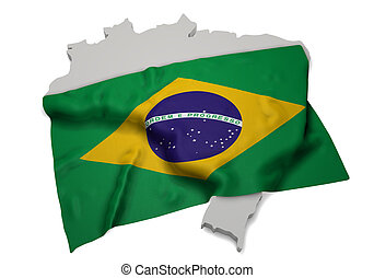 Realistic flag covering the shape of Brazil (series)