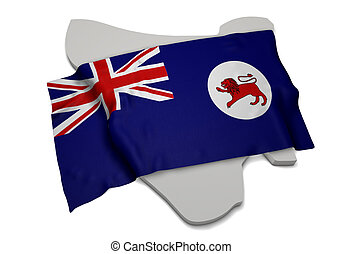 Realistic flag covering the shape of Tasmania (series)