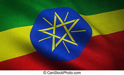 Realistic flag of Ethiopia
