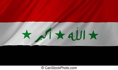 Realistic Flag of Iraq Loop 2 in 1 - Iraqi official flag...