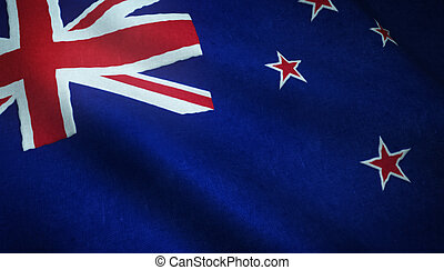 Realistic flag of New Zealand