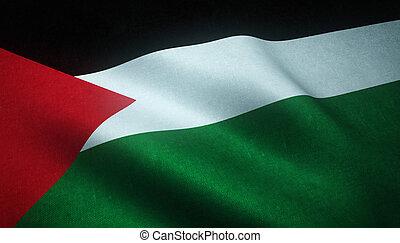 Realistic flag of Palestine