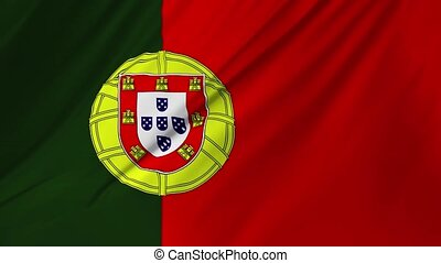 Realistic flag of Portugal waving in the wind 2 in 1